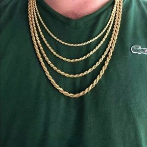 """New Real 925 Yellow Gold Rope Chain 4MM 26"""""""